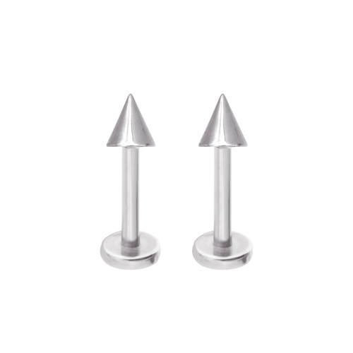 "Pair of Labret Monroe Jewelry Spike / Cone  Design 14G 3/8"" 10mm Lip, Tragus, Helix, Stud"