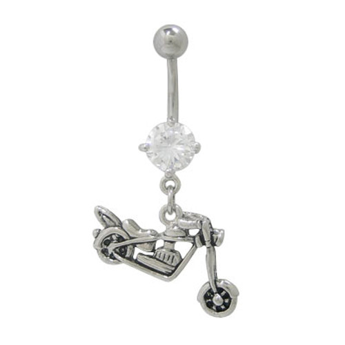 14 gauge Motorcycle Dangler Belly Ring with Jewel