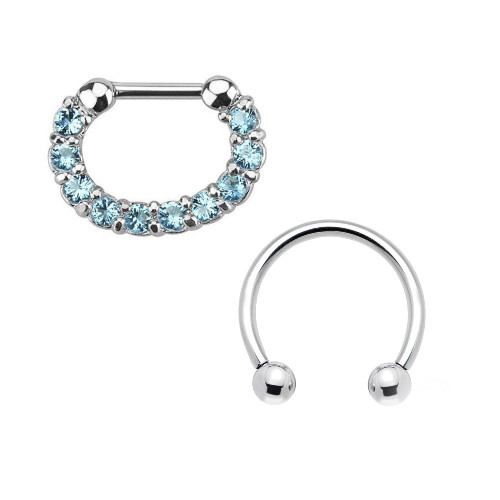 Pair of Septum Ring 16ga Combo Cartilage Ring Surgical Steel