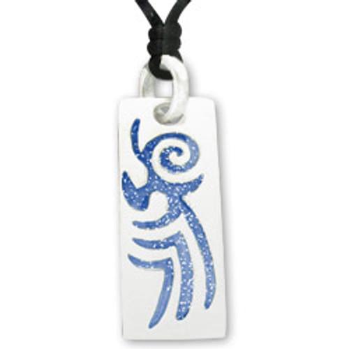 Maori Pacific Tribal Art Pendant in Blue Glitter