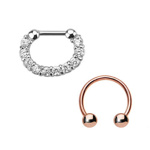 Pair of Septum Rings 16ga Combo with IP Horseshoe Surgical Steel