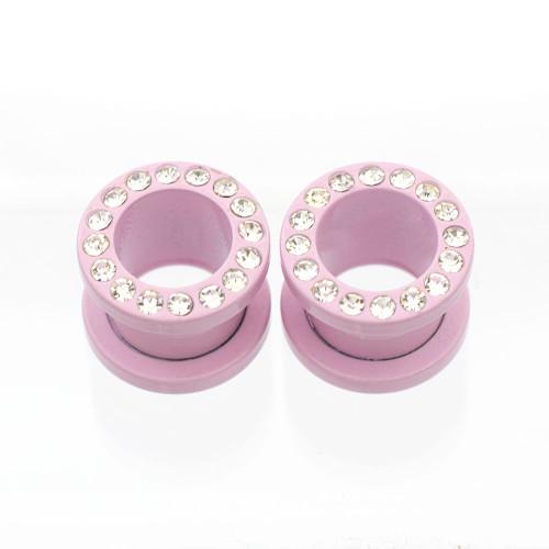 Pair of Matte Pastel Pink Screw Fit Cubic Zirconia Plugs- Surgical Steel