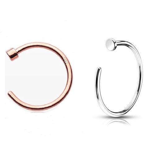 """Nose Hoop 14k Solid Rose Gold or 14k Solid White Gold 22 Gauge 5/16""""- 8mm"""