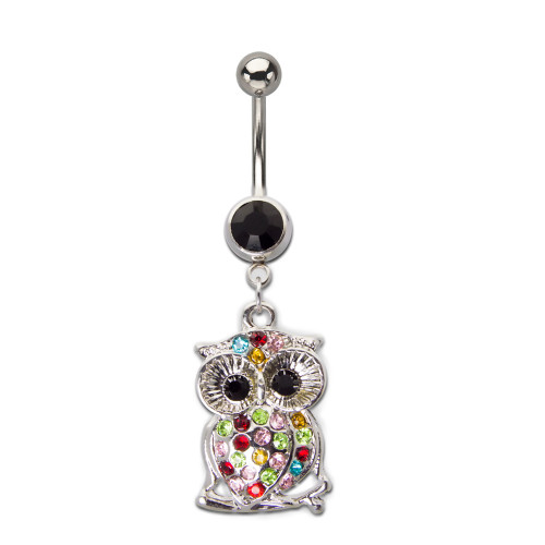 Surgical Steel Belly Ring with Multi-Gem Owl Dangle