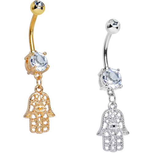 14ga Hamsa Dangling Belly Navel Ring with Large Prong-Set CZ - Silver or Gold