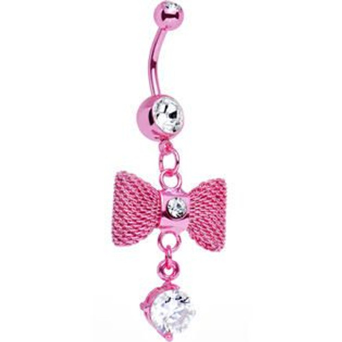 Hot Pink Bow Dangle with CZ Belly Button Ring 14ga