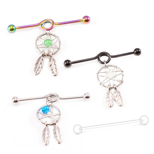 Industrial Barbell with Dream Catcher Dangle and Industrial Retainer 14G 38mm