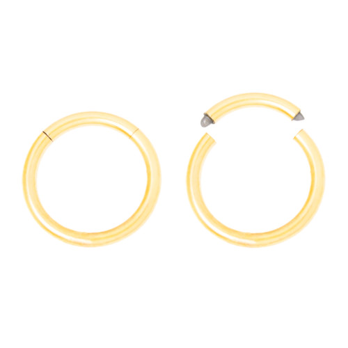 Pair of Seamless Hoops - Cartilage, Nose, Rook, Daith, Septum, Eyebrow - 16ga Gold I.P. 316L Surgical Steel