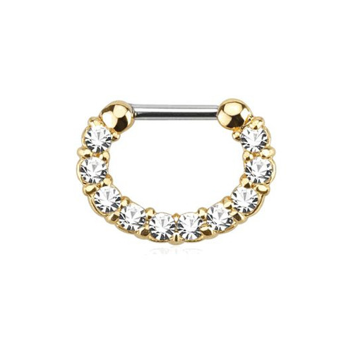 Ion Plated Gold 16ga Septum Clicker with CZ Gems