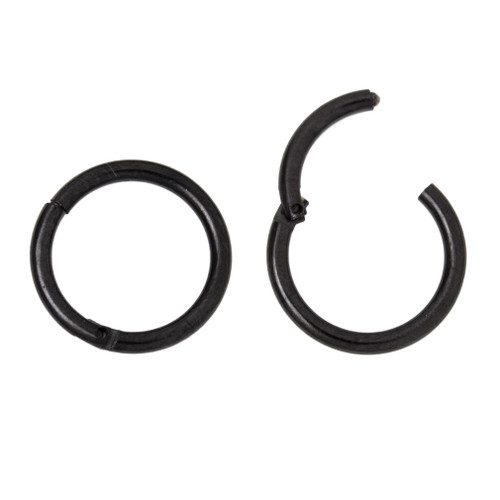 Pair of Hinged Hoops - Cartilage, Nose, Rook, Daith, Septum, Eyebrow - 16ga Black I.P.