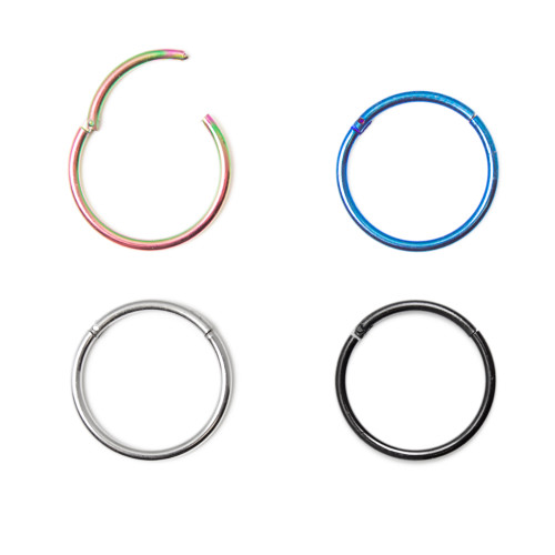 "16ga-1/2""(13mm) 316L Surgical Steel Seamless Hinged Segment Ring - I.P. Coated, 4 Colors Available"