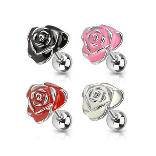 16ga Colored Rose Petal Cartilage Stud 316L Surgical Steel - Sold Each