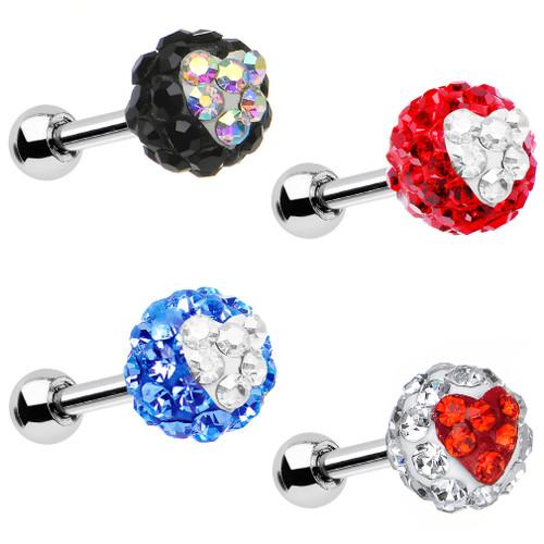 "16 Gauge 1/4"" Gem Ferido Heart Tragus Cartilage Earring - 4 Color Options"