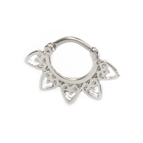Septum Clicker with Filigree Heart Design 316L Steel 16g