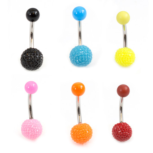 Belly Button Ring with Acrylic Textured Designed Balls 14ga 3/8 inches 10mm