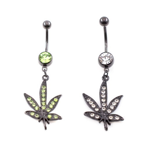 Pot leaf Black Anodized Dangle Surgical Steel Belly Ring