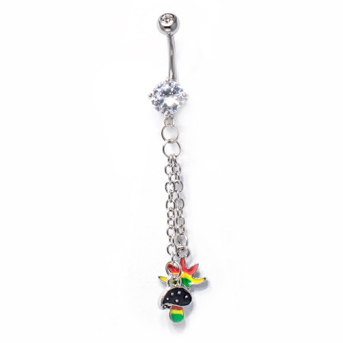 Curved Barbell Belly Ring with Pot Leaf and Mushroom Charms
