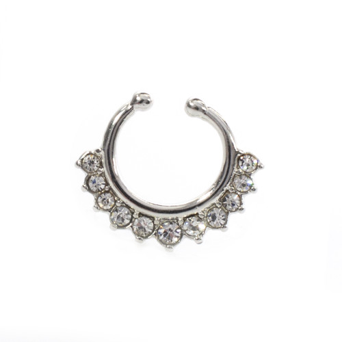 Septum Hanger  Non-Piercing Steel IP with CZ Gems