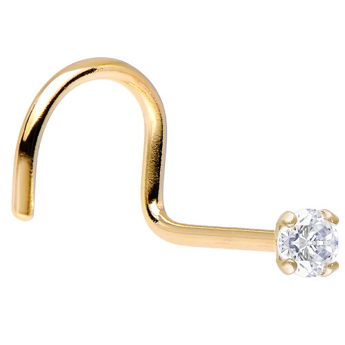 Solid 14K Gold Nose Screw with Genuine Diamond