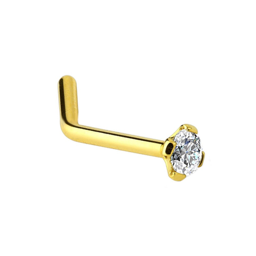 Solid 14K Gold L-Shaped Nose Ring with Cubic Zirconia 20ga
