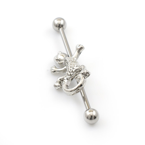 Industrial Barbell with Lizard Design 14G
