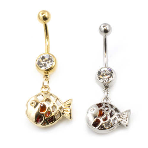 Filigree Fish Design Belly Button Ring Clear CZ Jewel 14G
