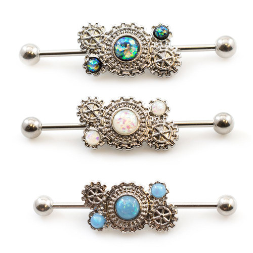 Industrial Barbell Steampunk Design with Opalite Stone 14g 1 1/2