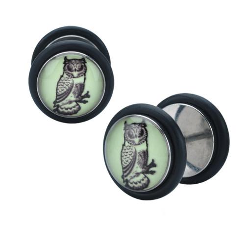 Acrylic 18 Gauge Glow in the Dark Owl Faux Ear Plugs
