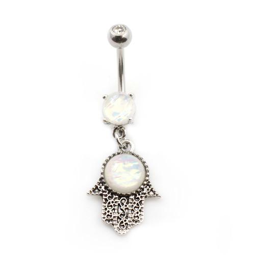 Hamsa Dangling Belly Button  Ring with Opal Glitter Gems 14ga