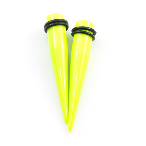 Pair of Acrylic Green Ear Tapers with O Ring -Multiple Sizes Available