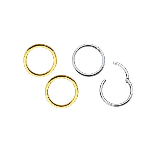 4-Pack Hinged Segment Ring - Perfect for Lip, Nose, Septum - 16ga or 14ga 316L Surgical Steel I.P. Coated