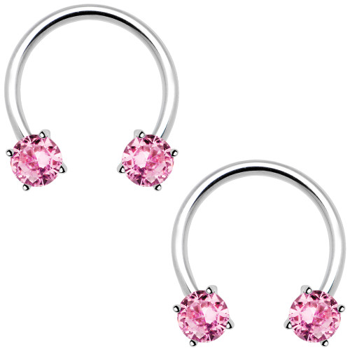 "Pair of 14ga-1/2""(13mm) 316L Surgical Steel Horseshoe Curved Barbells with Prong-Set Pink CZ Gems"