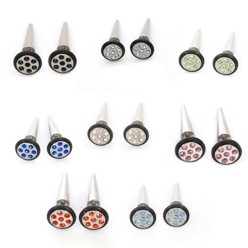 Pair of Faux Cheater Illusion Ear Plug Earrings with Multi-Gem Design 16ga