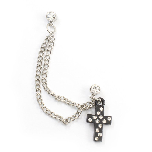 Double Clear Stud Earring with Chain and Dangling Black CZ Cross Charm 22ga