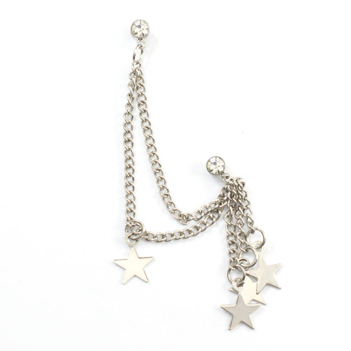 Double Clear Stud Earring with Chain and Dangling Silver Star Charms 22ga