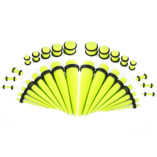 Glow Tapers with Plugs Ear Stretching Kit - 36 Pieces 14G - 00G UV Glow Neon Acrylic