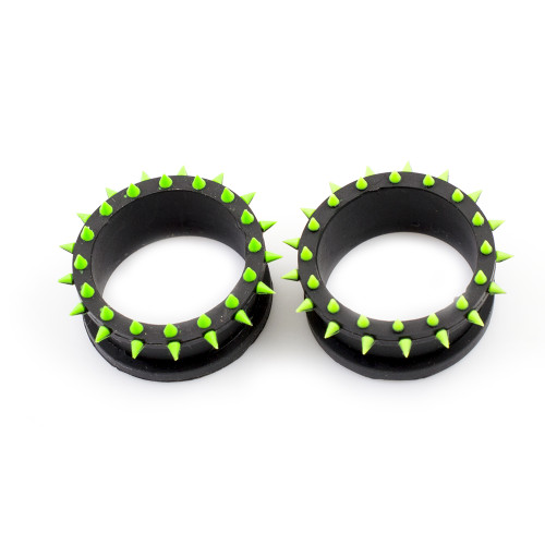 Pair of  Black & Green Double Flared Silicone Tunnels / Plugs with Spike Design - Sold Each