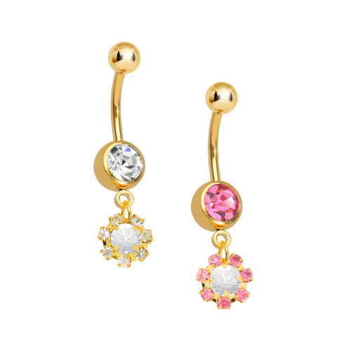 Belly Ring 14ga Gold I.P. Dangle-Style CZ Gem Cluster