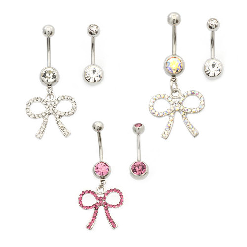 Pack of 2 Belly Button Rings- Multiple CZ Dangling Bow & Double CZ 14ga