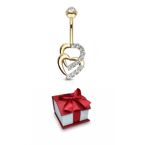 Holiday Gift Navel Belly Ring 14 Karat Solid Gold Double Heart Multi CZ Sold as a piece
