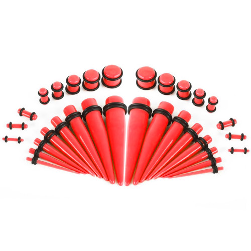 Glow Tapers with Plugs Ear Stretching Kit - 36 Pieces 14G - 00G UV Glow Red Acrylic