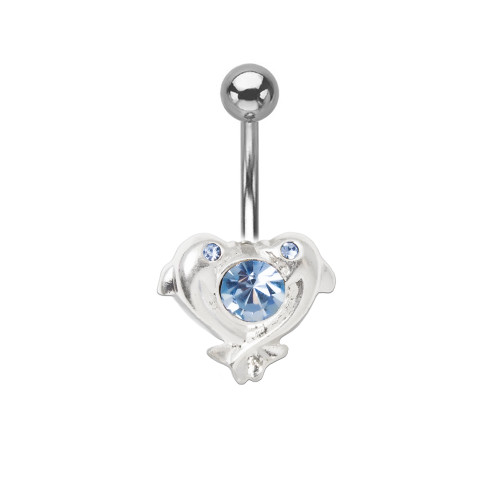 "14ga-3/8""(10mm) Dolphin Heart Belly Ring with Light Blue Gem 316L Surgical Steel"