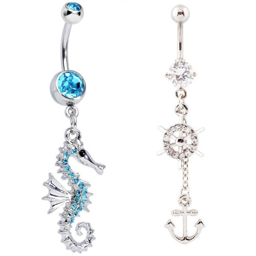Pack of 2 Nautical Belly Rings- Seahorse and Yacht & Anchor 14ga Surgical Steel