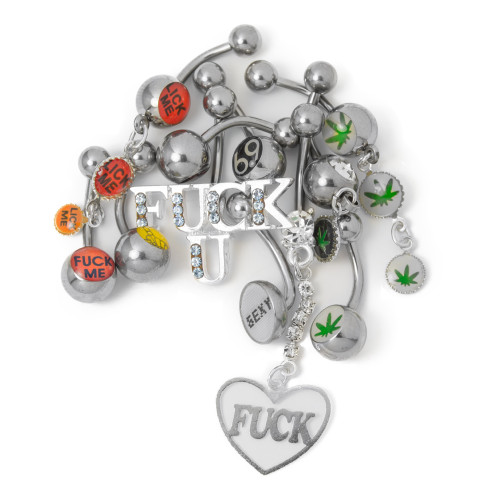 Naughty Belly Ring Mix Package - Mixed Naughty Logos 14ga 316L Surgical Steel - 10pc