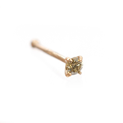 14K Solid Gold Nose Bone with Real Champagne Diamond gem stone 22g - Out of Stock