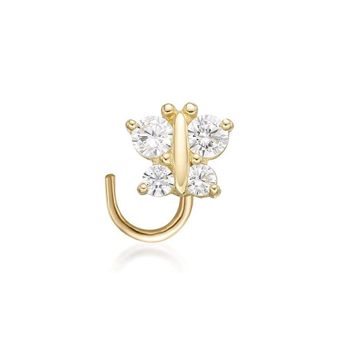 Nose Screw 14k Yellow Gold with CZ Butterfly Design 22 Gauge