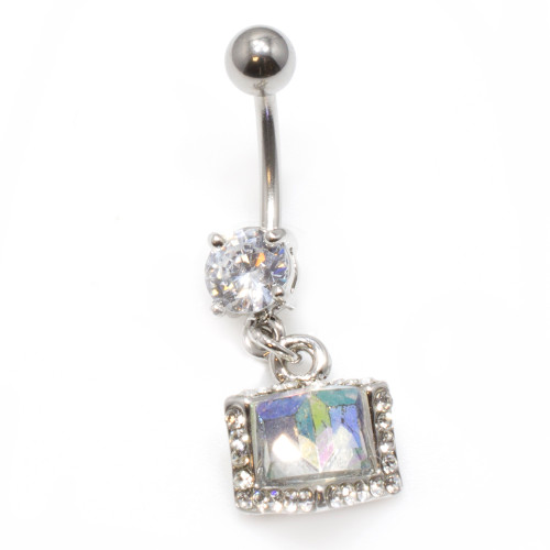 Dangling Belly Ring with Prong-Set CZ Gem