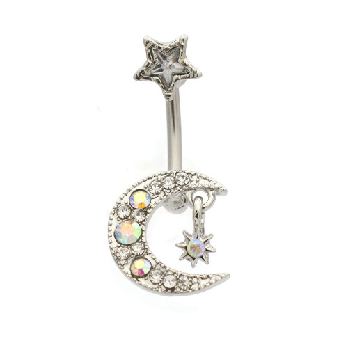 Star and Moon with Clear CZ Gem Fixed Charm Belly Button Ring 14ga Surgical Steel