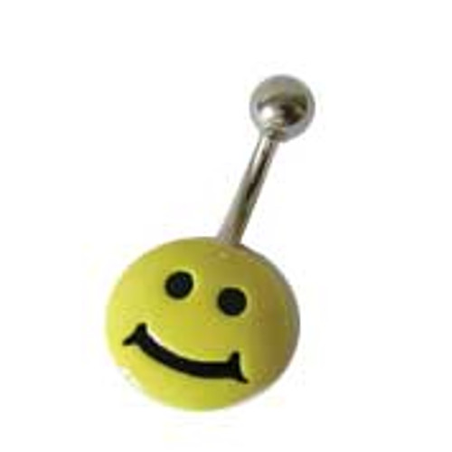 14G Body jewelry, 316L surgical steel with hand painted design, Belly button ring