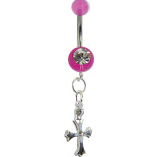 Body jewelry, 316L surgical steel with acrylic UV Replacement beads and sterling silver dangling design, UV Belly Button ring